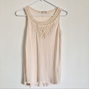 Cream Tank Top with Crochet Front Details Small